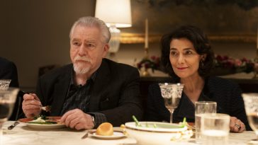 Logan and Marcia sit tensely at the dinner table at Tern Haven