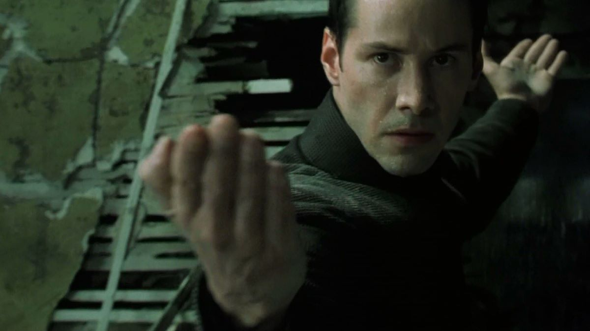 Neo strikes a pose of defiance in The Matrix Revolutions