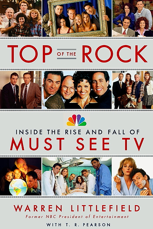 Images of the TV shows Friends, ER, Seinfeld, Cheers, Frasier appear on the book cover to Top of the Rock The Rise and Fall of Must See TV