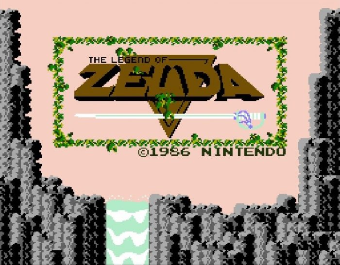 The Legend of Zelda title screen, featuring the golden triforce and a tall mountain with a waterfall.