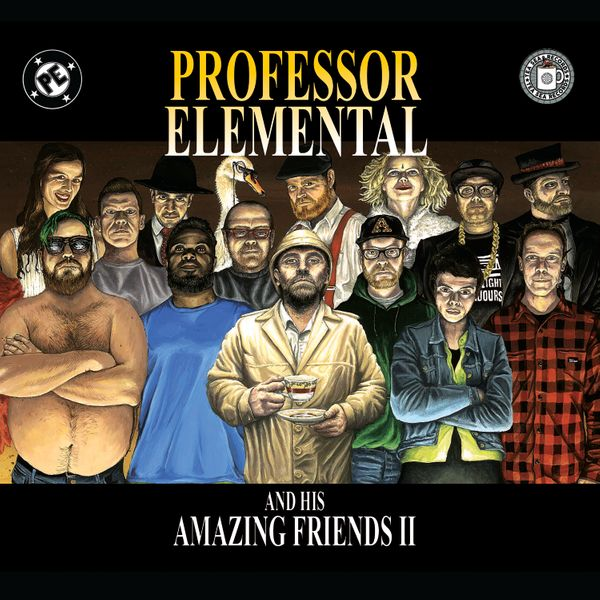 The cover of Professor Elemental and His Amazing Friends II features a number of people drawn in the style of a comic book