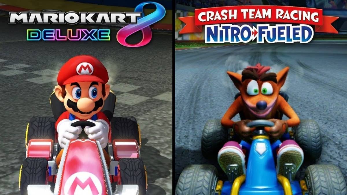 MarioKart Deluxe 8 vs Crash Team Racing Nitro Fueled game covers