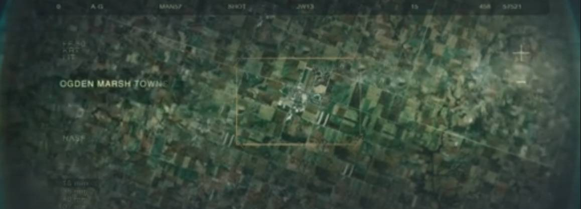 A drone image od the town from The Crazies (2010)