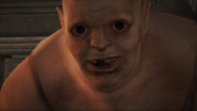 up close view of Debilitas from Haunting Ground, with dark pupils and grin