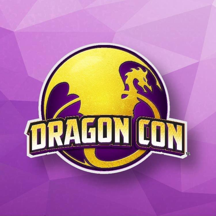 A dragon appears in a circle in the Dragon Con logo