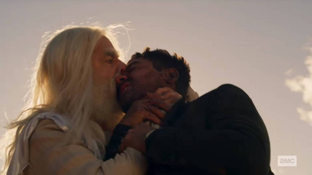 God biting out Jesse's eye in Preacher