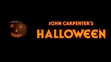 "The Halloween title card ""John Carpenter's Halloween"" with a pumpkin to the left."