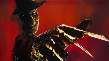 Freddys Dead poster with Freddy's knifed glove reaching out