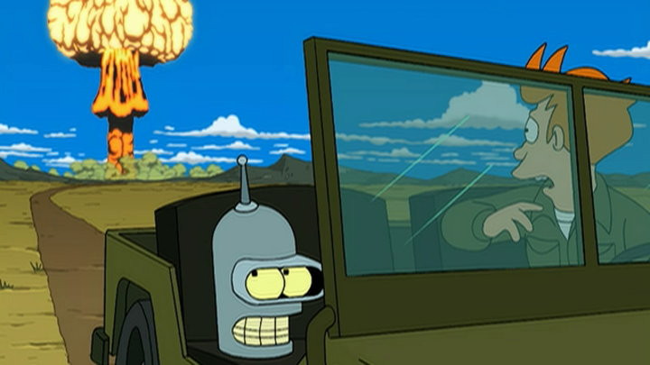 Fry is driving a jeep, with Bender's head in the passenger seat. There is an explosion going off behind them, starting the grandfather paradox.