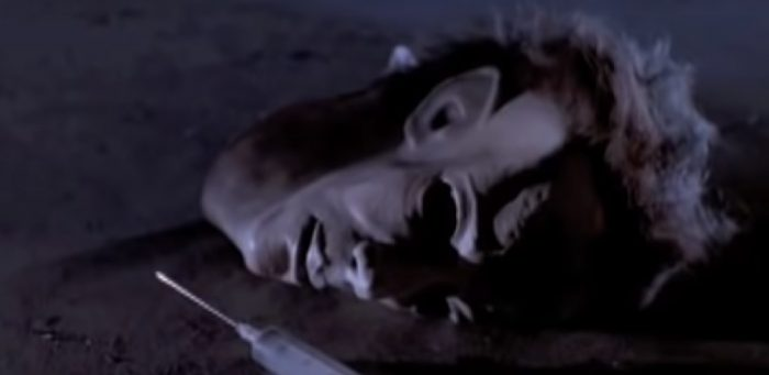 The Michael Myers mask and an empty syringe lay on the floor of Smith's Grove