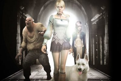 Fiona, Hewie, Debilitas, Daniella standing in front of arch in Haunting Ground