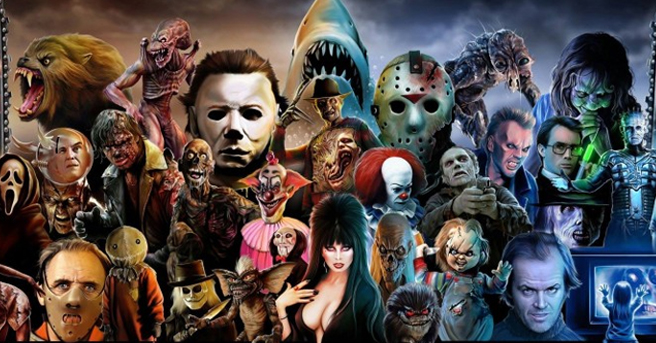 Collage of horror villains