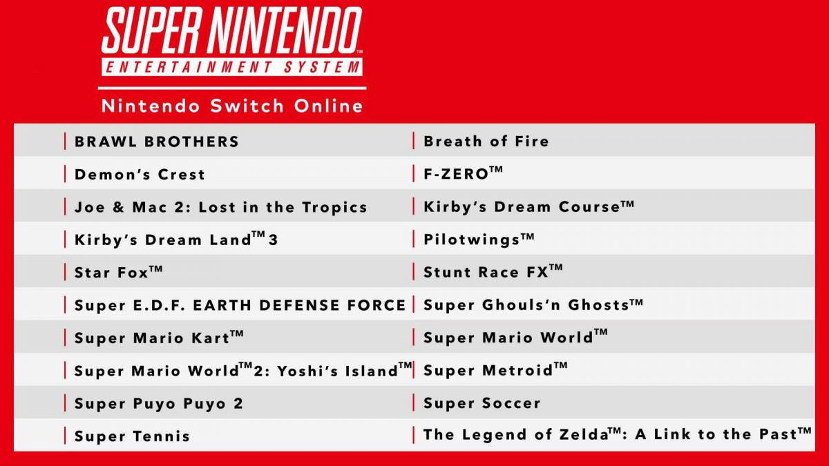 Titles coming to SNES Online
