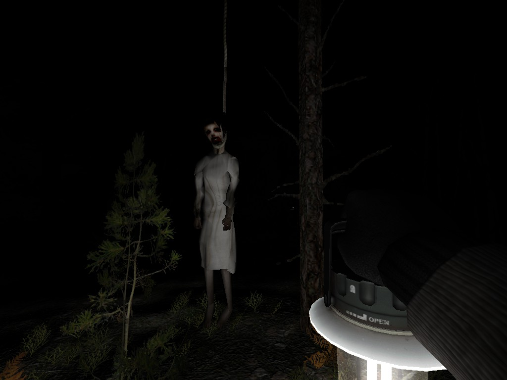 A woman hanging from a tree in Cry of Fear survival horror game
