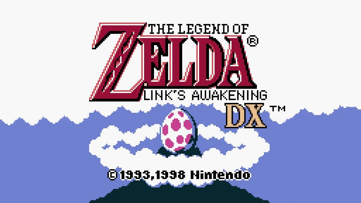 The game's title screen, saying The Legend of Zelda:Link's Awakening DX, with the Wind Fish's egg in the background