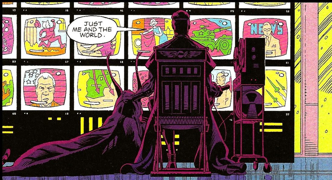 Image of Ozymandias sitting in front of multiple television screens, stroking his genetically engineered sphinx, as he says, Just me and the world.