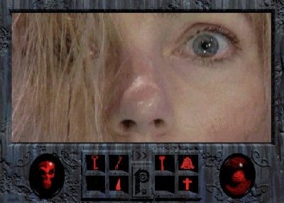 close up of blond woman's eyes from Phantasmagoria video game