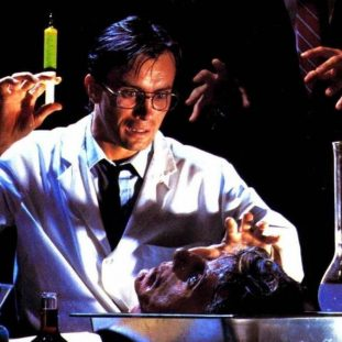 a mad scientist holds a syringe with green liquid in the air in his lab