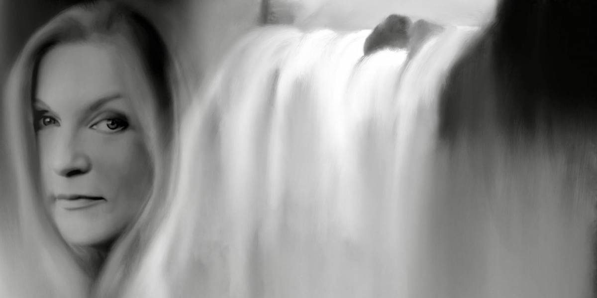 a pencil drawing of Sheryl Lee and a waterfall by Jill Watson