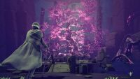 A purple glowing tree in the heart of The Sojourn