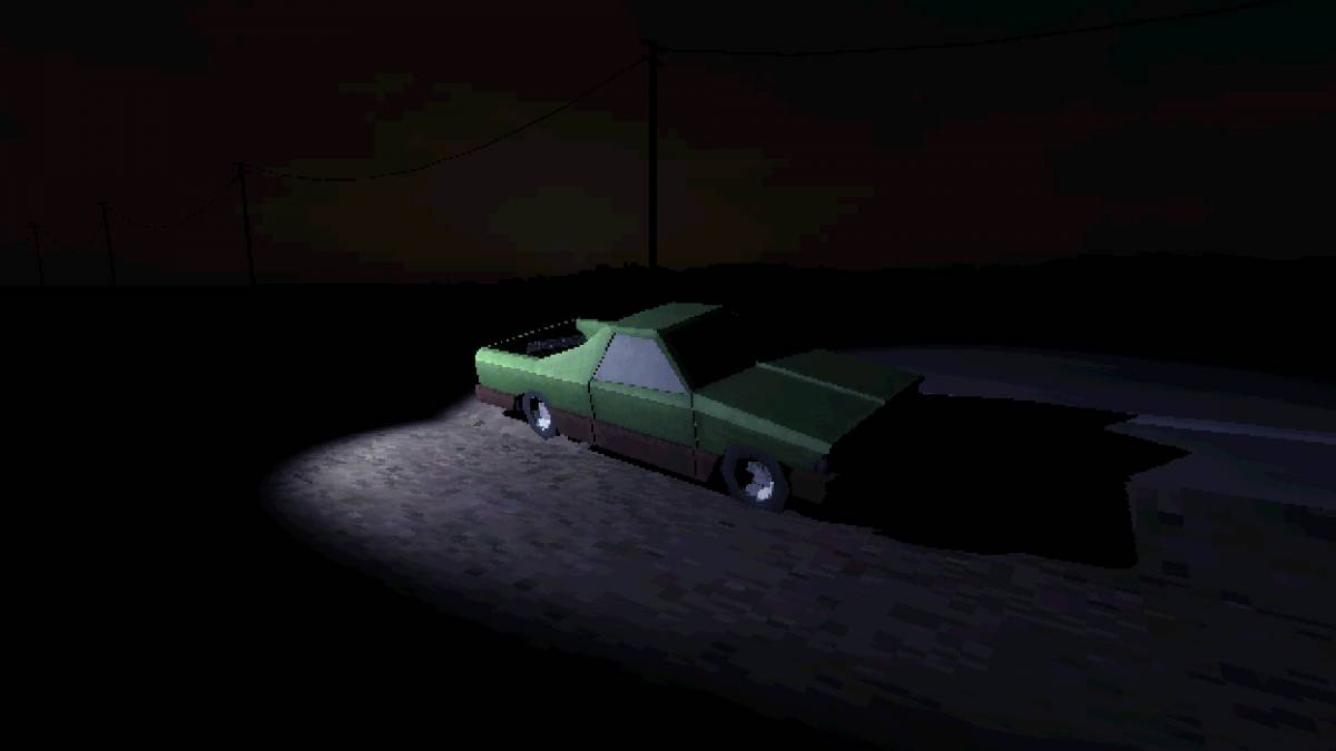 A car sits in pure darkness lit only by a single flash light.