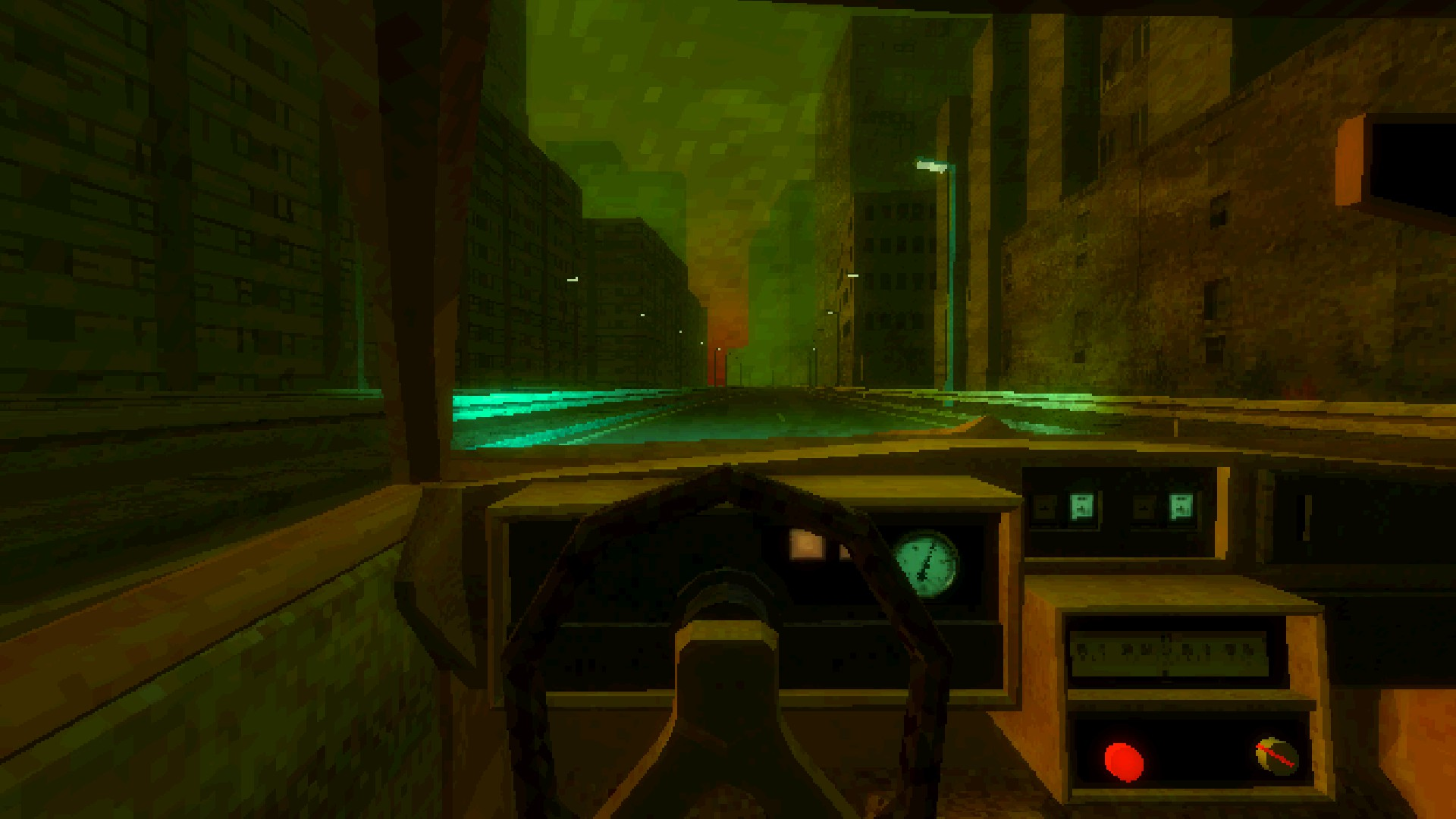 An interior view of the car from one of the game's driving sections. Buildings flank the car on either side.