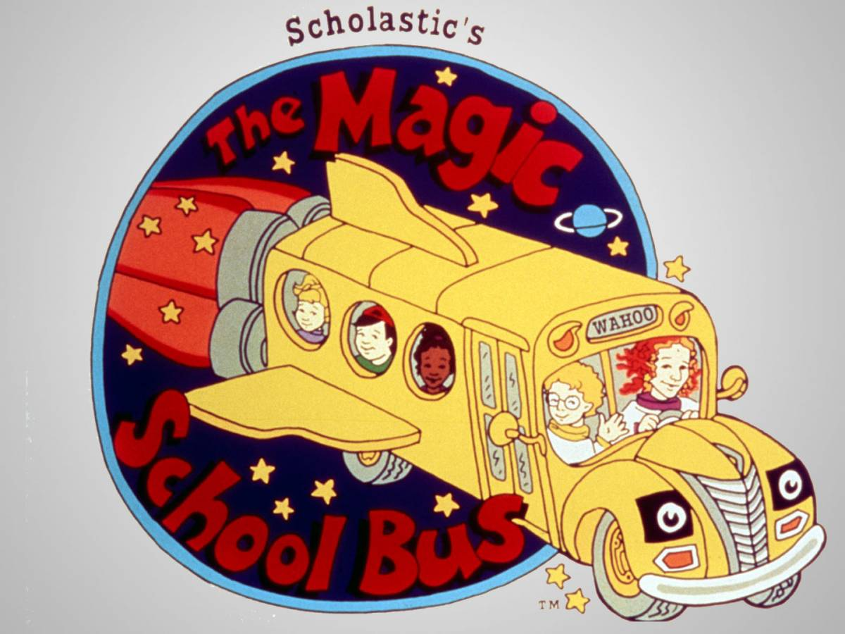 The Magic Schoolbus logo is a circle, with the cartoon bus shooting out of it like a rocket ship, with Ms. Frizzle and the students inside waving.