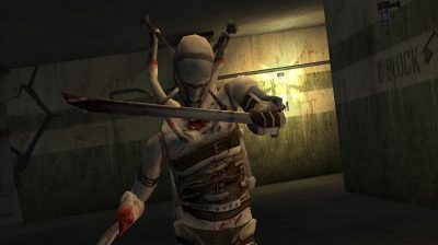 A masked creature in bandages with sword arms from The Suffering video game