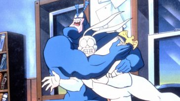 The Tick and Arthur roughhousing in The Tick Animated Series