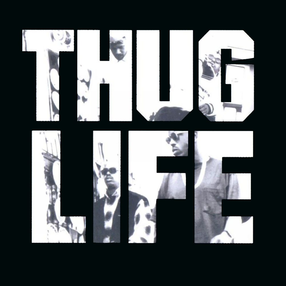 On a black background is a photo of some of the rappers of the group Thug Life. The frame of their photo are the block letters of their group name: Thug Life.