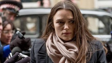 "Katharine Gun (Kiera Knightley) enters the court house to face her charges in ""Official Secrets"""