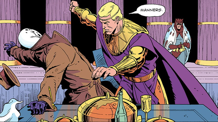 Image of Ozymandias forcefully striking Rorschach as the Nite Owl watches