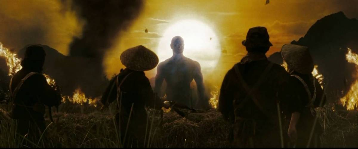 Doctor Manhattan looms over the Vietcong, ready to to kill them
