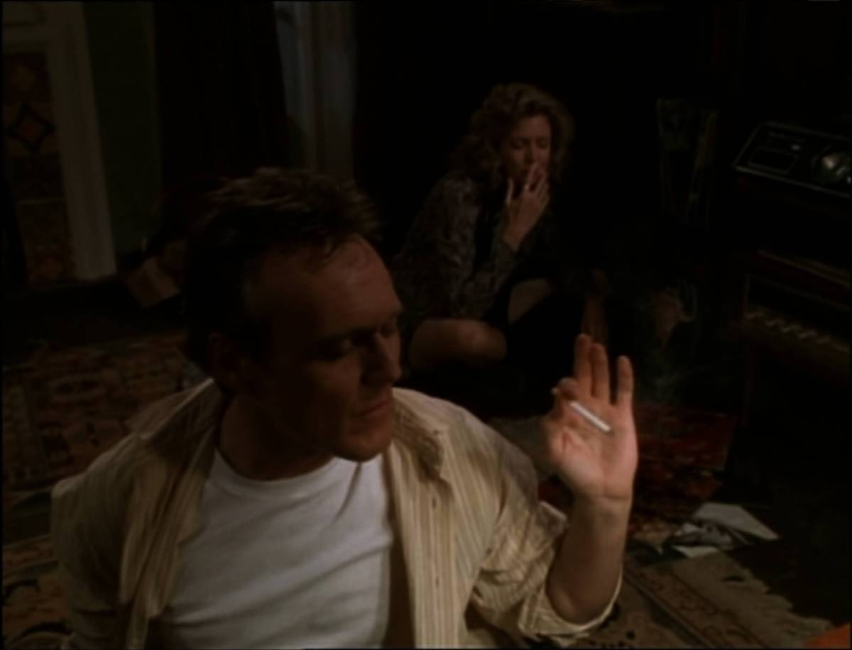 Giles listens to music and smokes with Joyce.