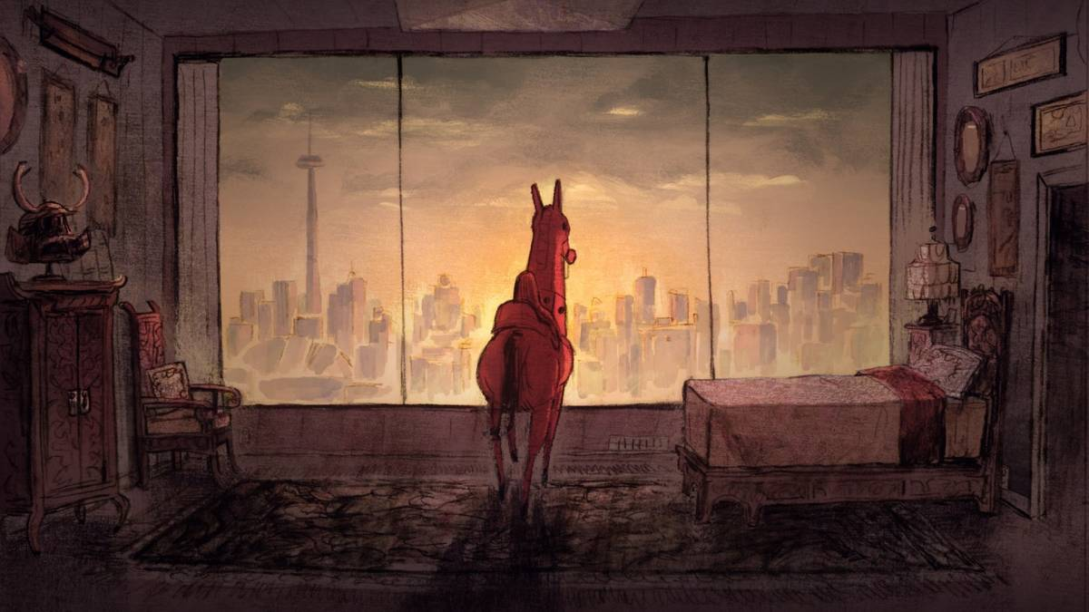 A toy horse in a playroom stands next to a small bed, looking out through a picture window at a city skyline