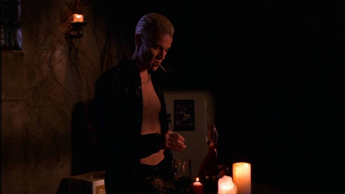 Spike prepares some blood to drink in his crypt.