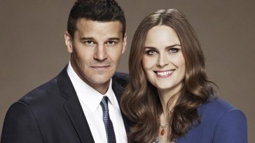 Promo shot of Booth and Brennan, standing side by side