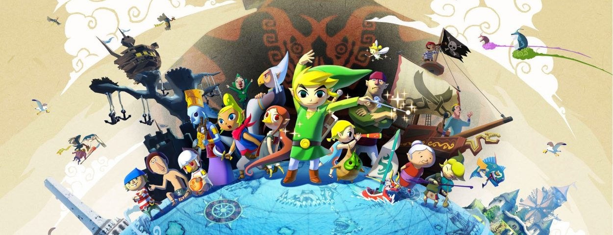 A landscapeshot of the game's various cast of characters, with Link at the center.
