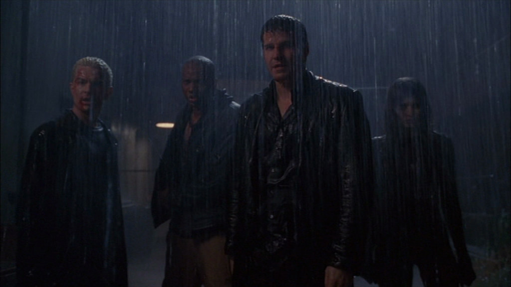 Team Angel takes their last stand, in an alley, in the rain