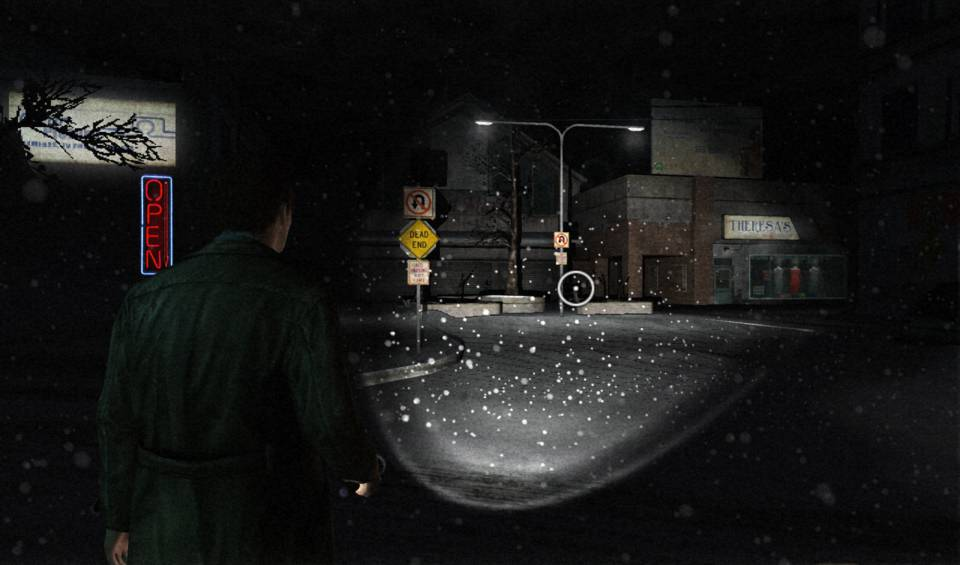 Harry walks through the snowy streets of Silent Hill near a clothing shop called Theresa's
