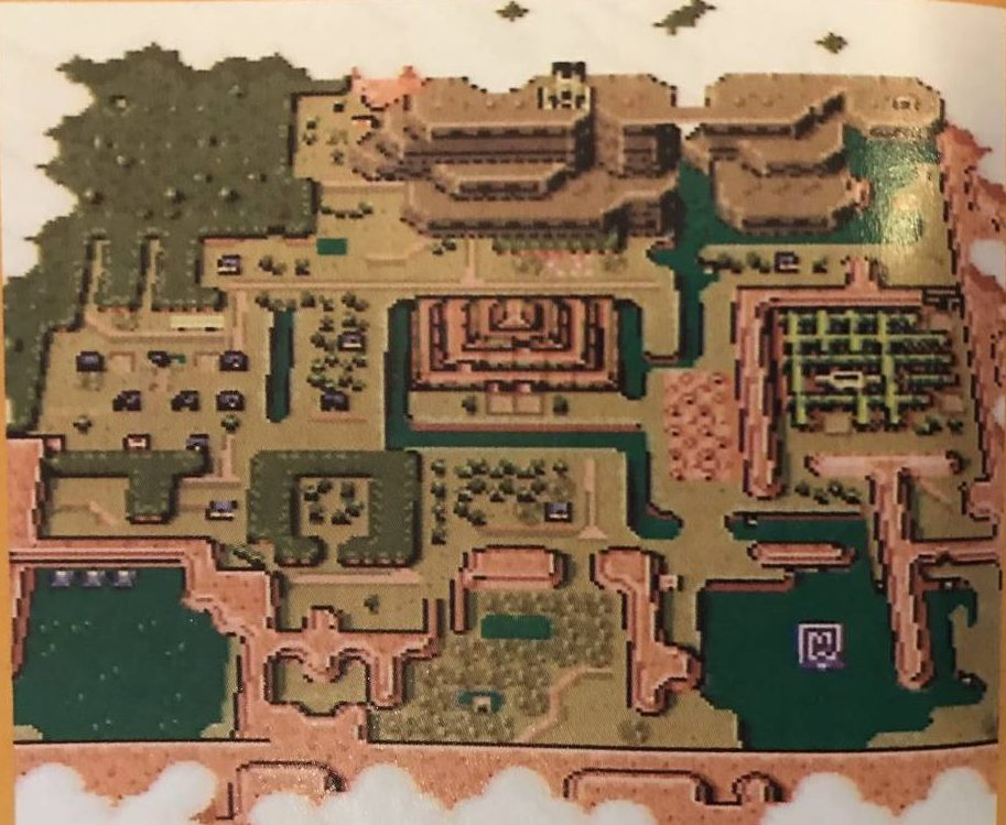 Link to the Pasts Map Screen shows all of The Dark Worlds playable area, from above.