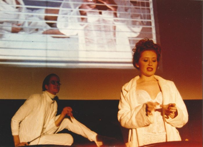 "Kerry D. (as Nation McKinley) and another Shock Treatment cast member perform the ""Lullaby"" scene from Shock Treatment."