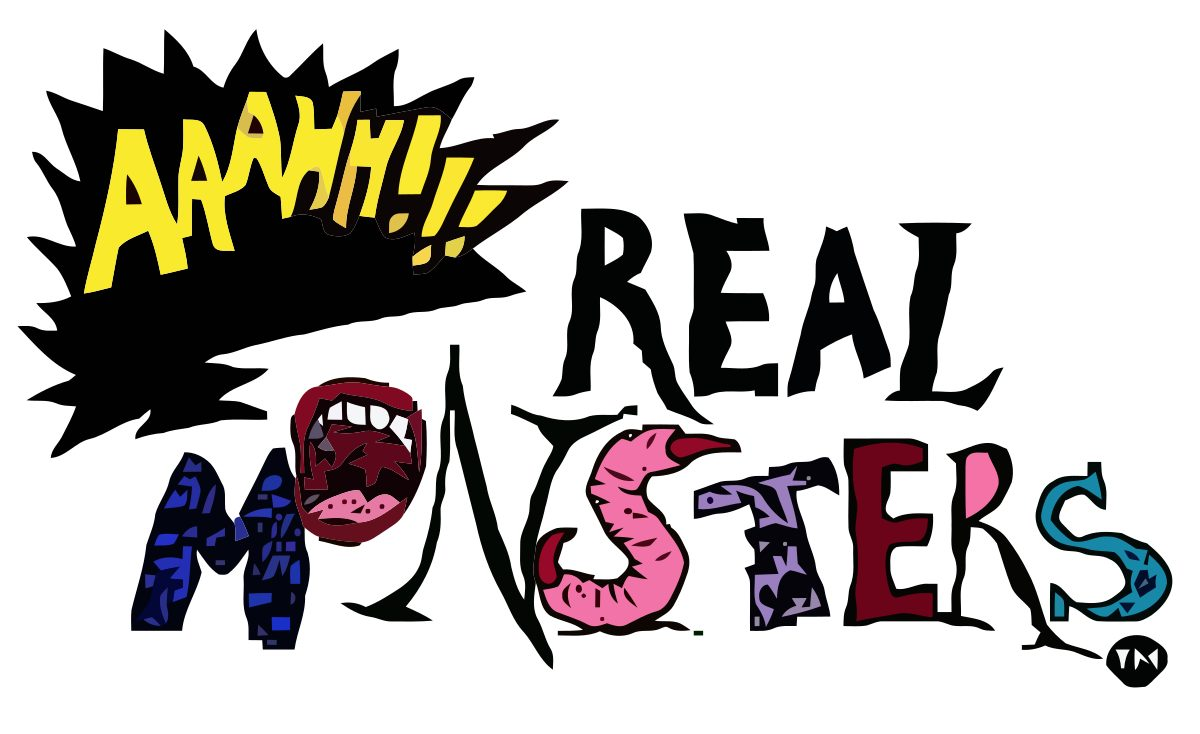 "The Stylized lettering of Aaahh!!! Real Monsters: The ""Aaahhh!!!"" is written in a shouted comic strip word balloon, and each letter in Monsters is a monster in a letter shape."