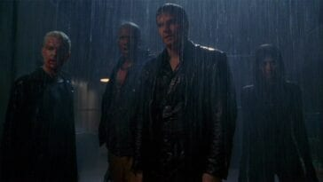 Angel, Spike and the gang in the rain, regarding their offscreen threat.