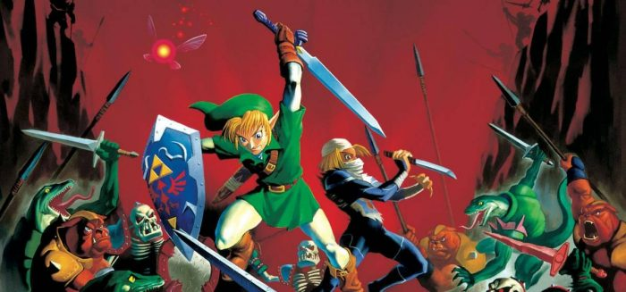 Artwork of Link and Sheik fending off many foes