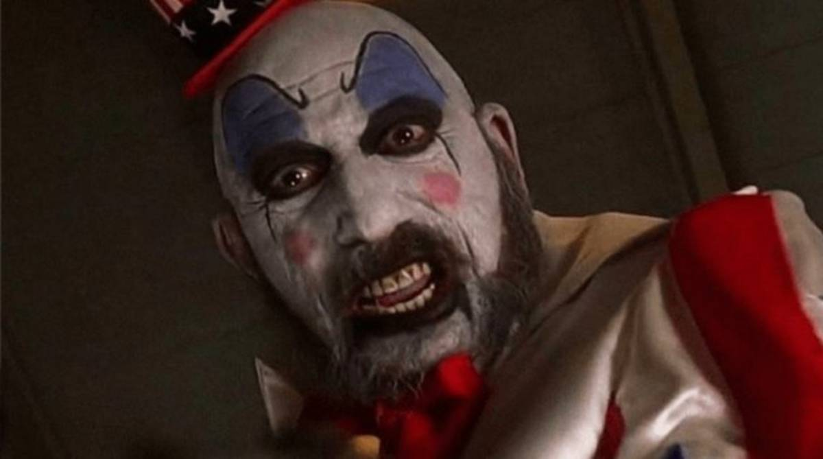 Captain Spaulding looks angrily at the camera