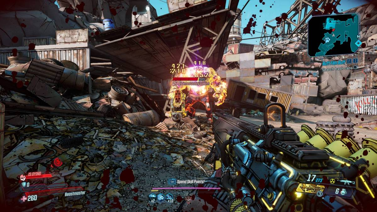 An anointed Daddy Goliath and a Bad-ass Tink turret in Borderlands 3