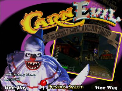 A scary clown in all white, with sharp teeth, brandishes a knife, in the CarnEvil title screen