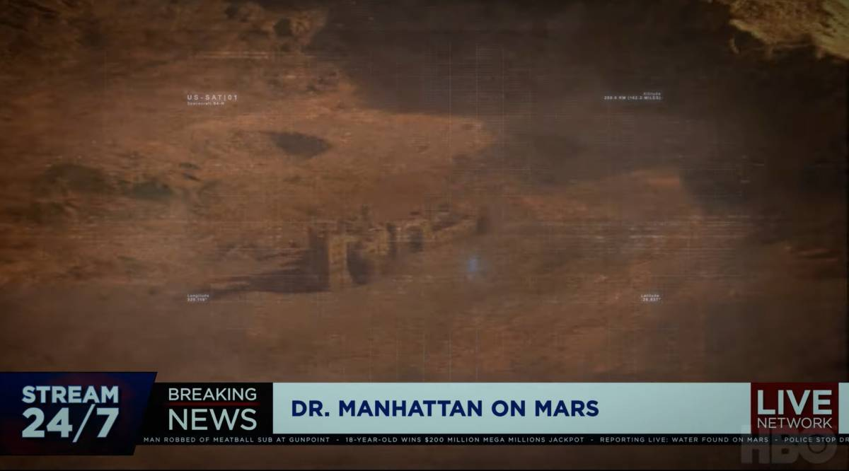 News footage of Dr. Manhattan on Mars blowing up a wall