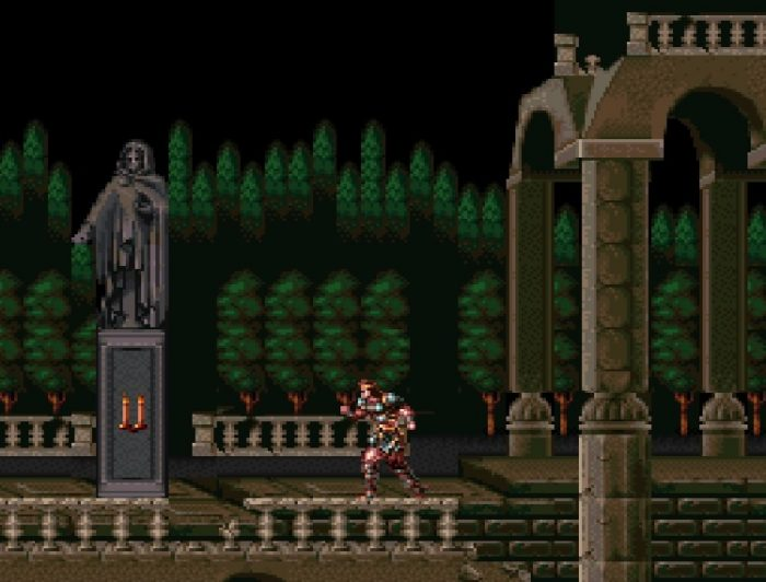 Simon stands outside the entrance to Castlevania.